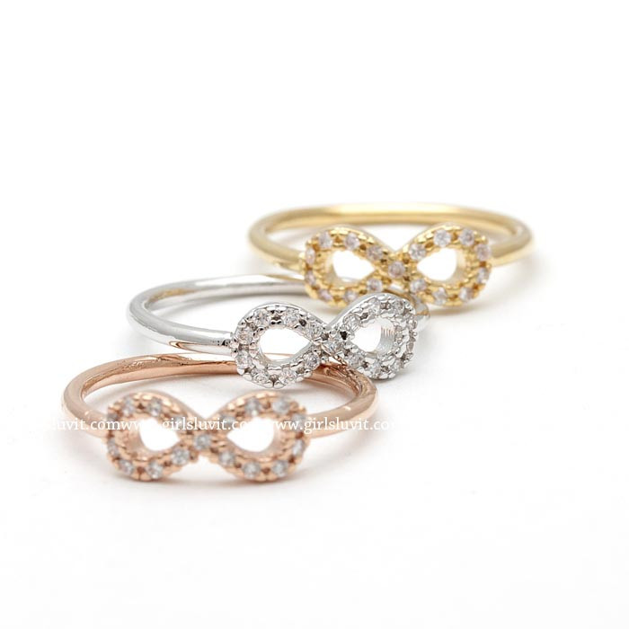 girlsluv.it - simple INFINITY knuckle ring with crystals, 3 colors