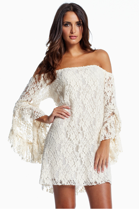 White Long Sleeve Off The Shoulder Lace Dress - Sheinside.com