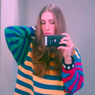 sweater stripes multicolor colorblock hipster artsy red yellow green blue stripedsweater rainbow colorful