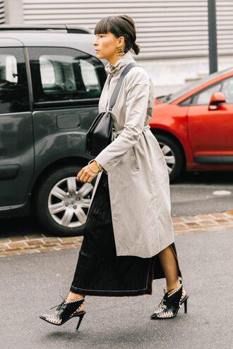 coat tumblr grey coat trench coat skirt maxi skirt black skirt shoes black shoes slingbacks streetstyle