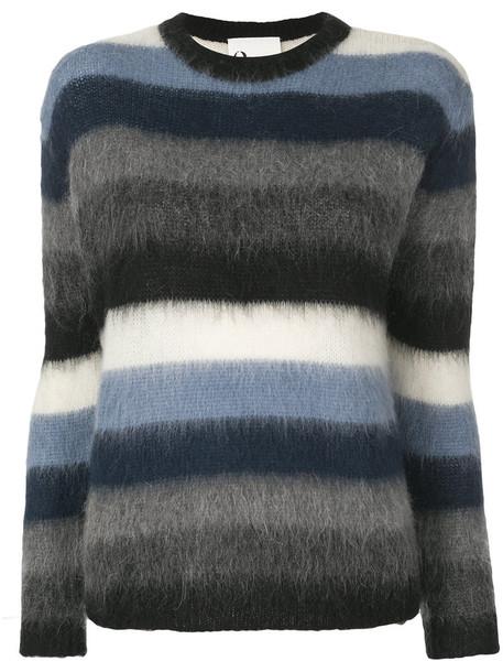 8pm - crewneck stripe pullover - women - Polyamide/Mohair/Polyacrylic - M, Blue, Polyamide/Mohair/Polyacrylic