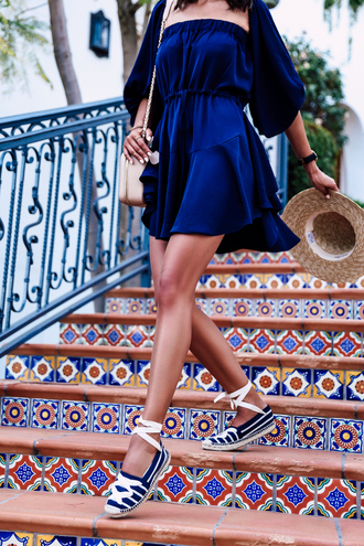 dress hat mini dress royal blue dress royal blue three-quarter sleeves summer summer dress summer outfits short dress striped shoes straw hat shoulder bag nude bag sandals flat sandals espadrilles bustier dress