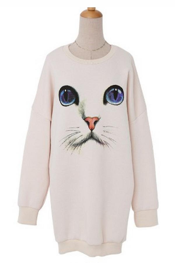 Loose fit cat print sweatshirt