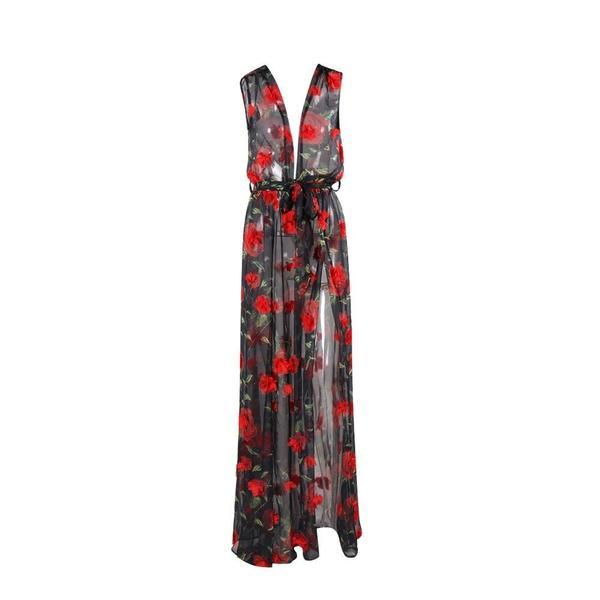 FLORAL SPLIT BEACH DRESS