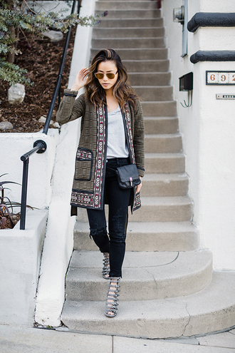 jacket coat spring outfits jamie chung blogger shoes embroidered green coat grey top black jeans black bag mini bag