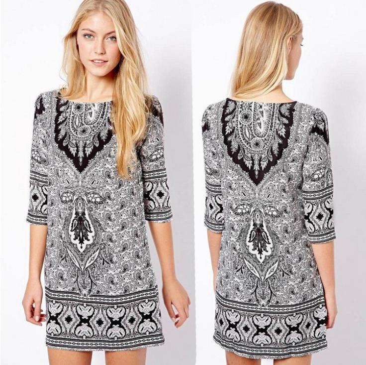 Free shipping! 2014 hitz wild european style retro pattern desigual vestido de festa totem slim sleeve dress summer dress 2014