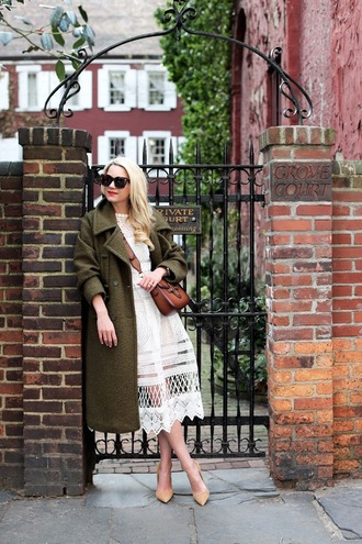 atlantic pacific blogger winter coat wool coat white dress brown leather bag winter outfits fall outfits khaki