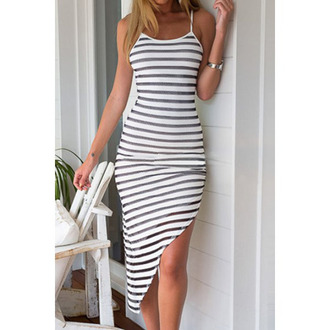 dress stripes summer white fashion maxi trendy rosegal-jan