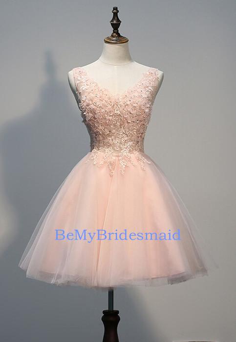 Charming Handmade Pink V-neckline Short Tulle Homecoming Dresses, Short Prom Dresses on Storenvy