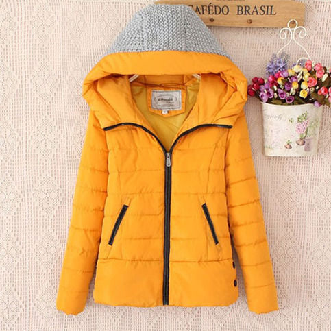 Quilted Contrast Knit Hood Padded Jacket Slim Fit Coat Overcoat from lilystyle por Lilystyle.storenvy.com - Shopcliq