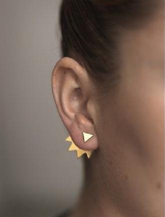 jewels earrings gold spike spiked back geometric triangle