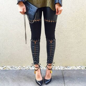 pants maniere de voir suede leather lace up tom ford chanel panelled tie up leggings