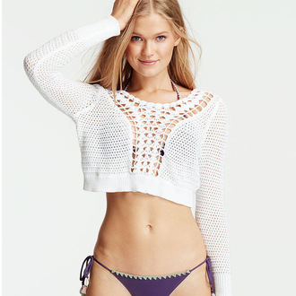 sweater white white sweater cropped cropped sweater see through knitwear off the shoulder crochet crocheted top