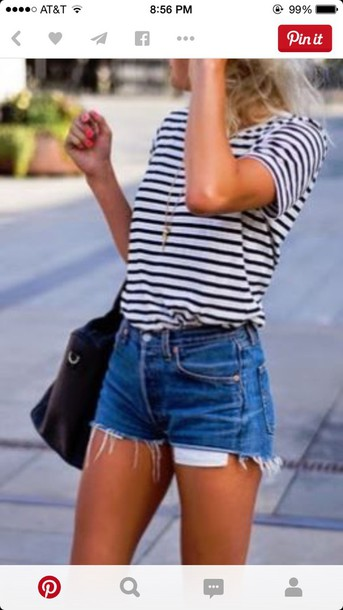 shorts High waisted shorts denim shorts shirt stripes black and white short sleeve ripped shorts