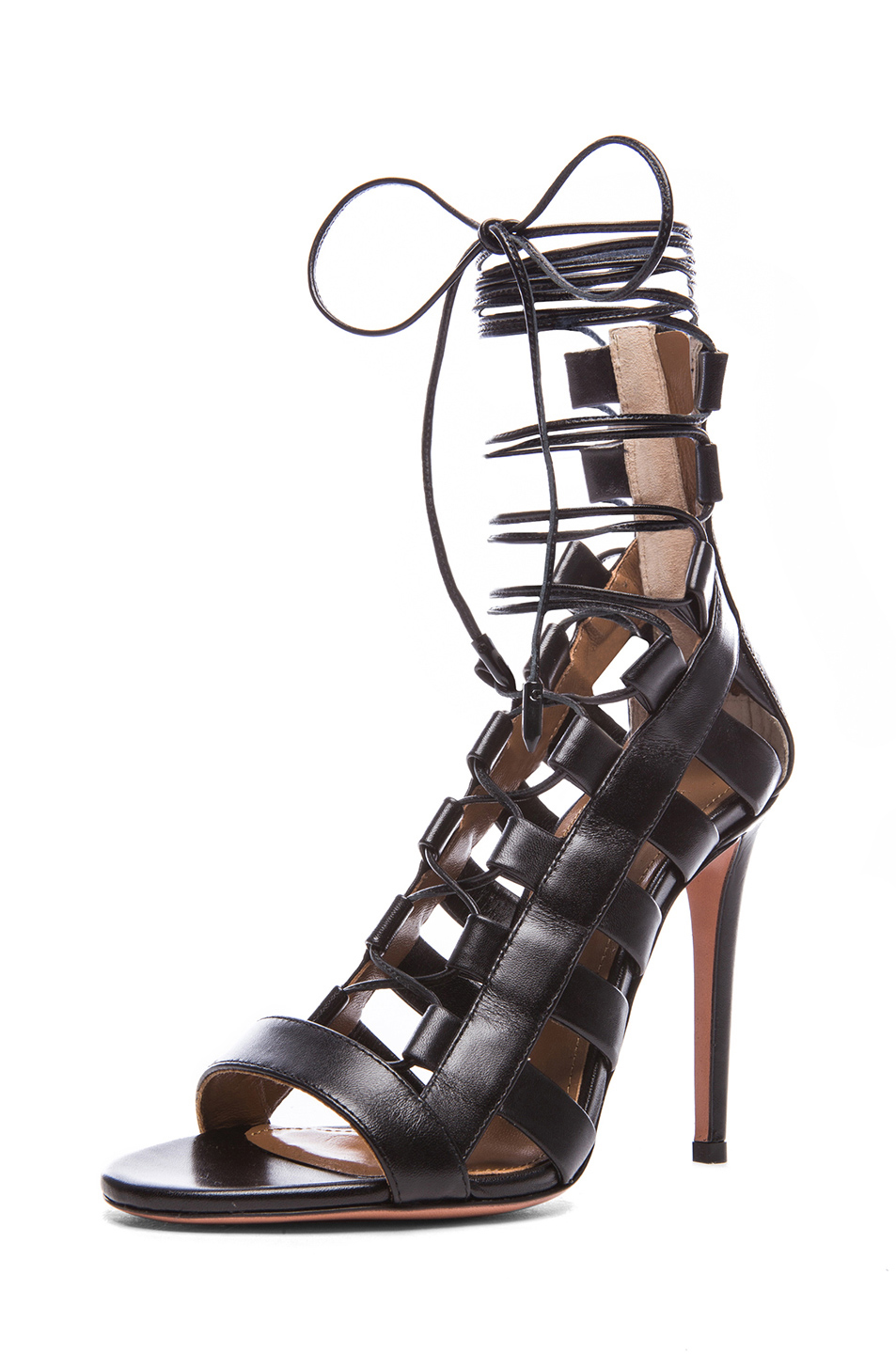 Aquazzura|Amazon Calfskin Leather Lace Up Sandals in Black