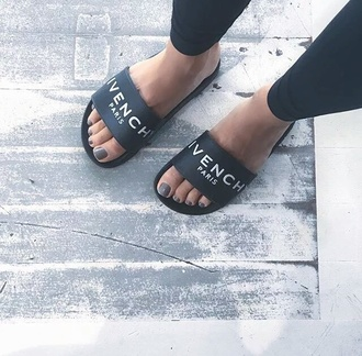 shoes givenchy grey black flats sandals