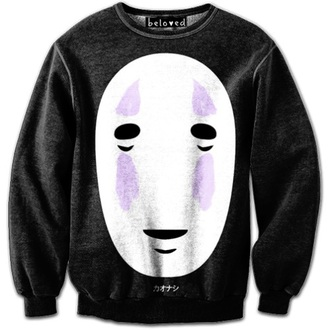 sweater noface anime purple black white sweatshirt
