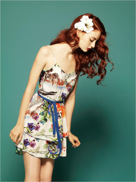 hair clip beautiful dress floral dress floral hair clip fashion color codie young clothes vintage hippie