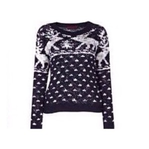 sweater navy reindeer print christmas sweater