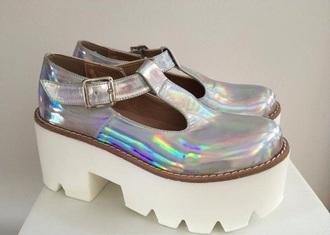 shoes holografic white cute sandals cut aesthetic