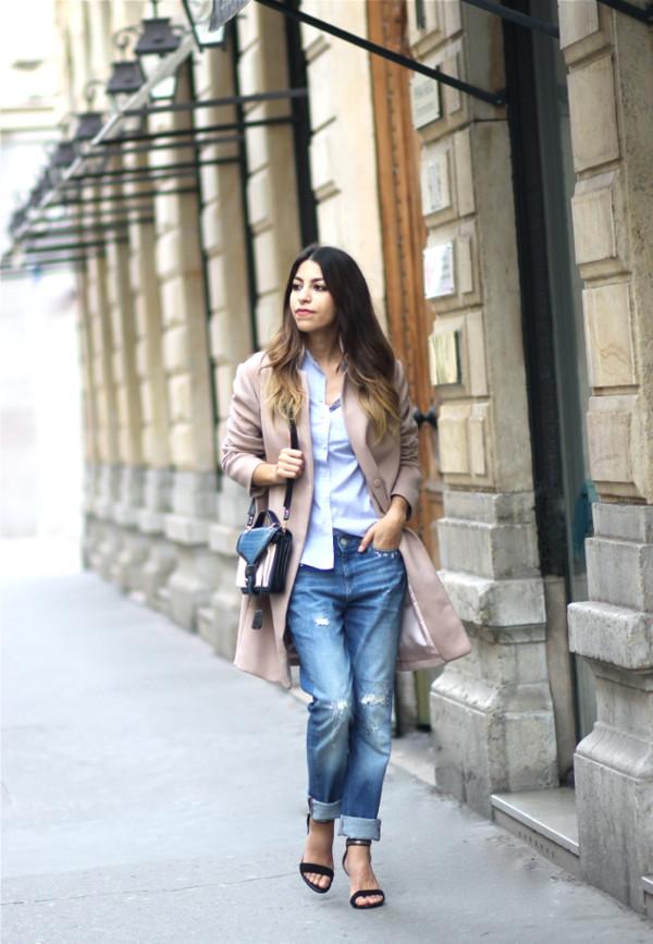 fadela mecheri coat shirt jeans shoes bag