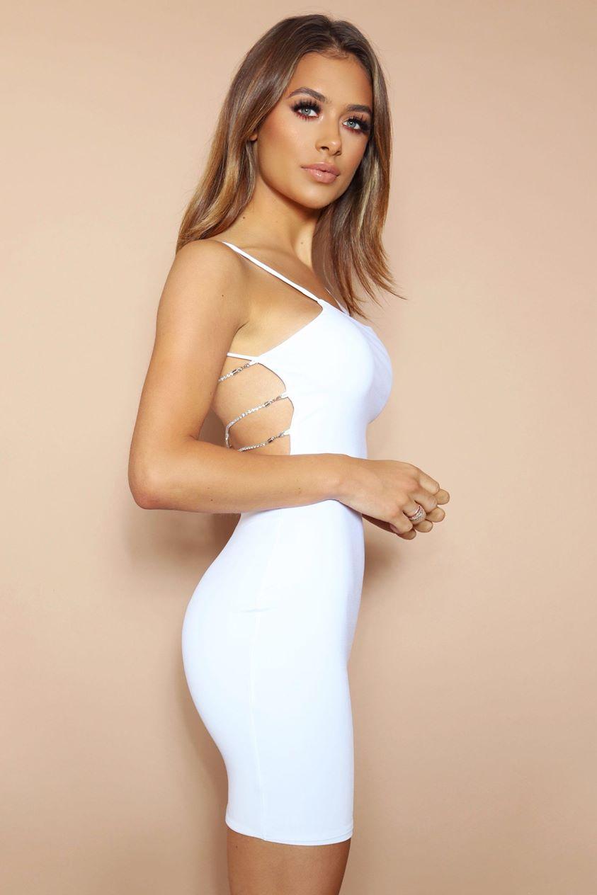 The Diamante Back Mini Dress White