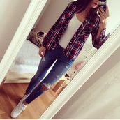 jeans,gloves,shoes,cardigan,pants,blue,ripped jeans,blue skinny jeans,blue ripped jeans,top,coat,beautiful,shirt,clothes,girl,fashion,style,outfit,white,blouse,phone,high waisted jeans,skinny jeans,sports shoes,white shoes,white sports shoes,white top,white blouse,flannel shirt,checkered,checked shirt,accessories,phone cover,necklace,gold necklace