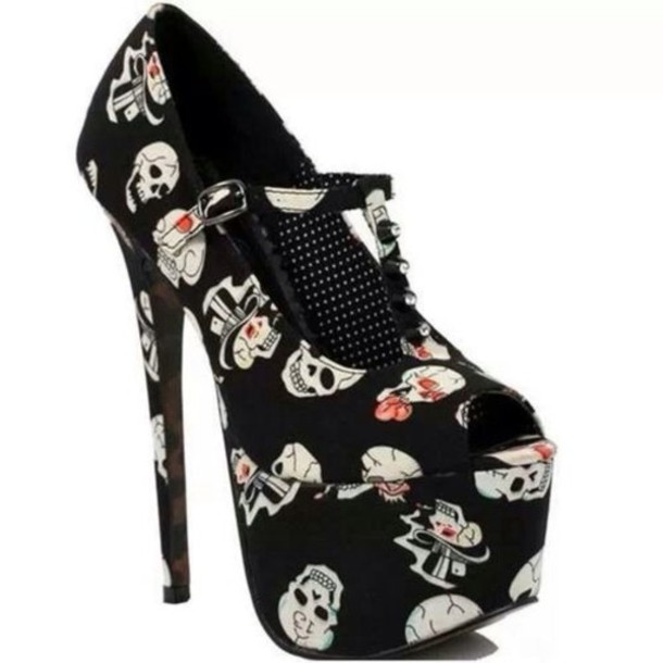 shoes high heels black skull hat party