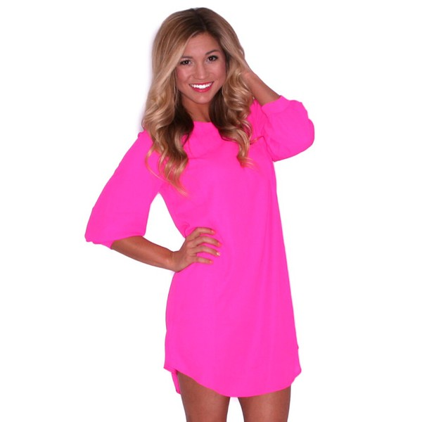 pink dress shift dress pink dress long sleeve dress