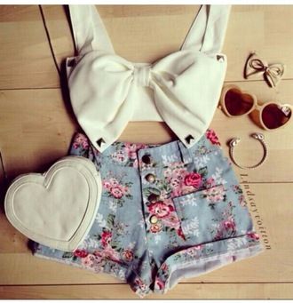 top shorts girly crop tops bows floral cute