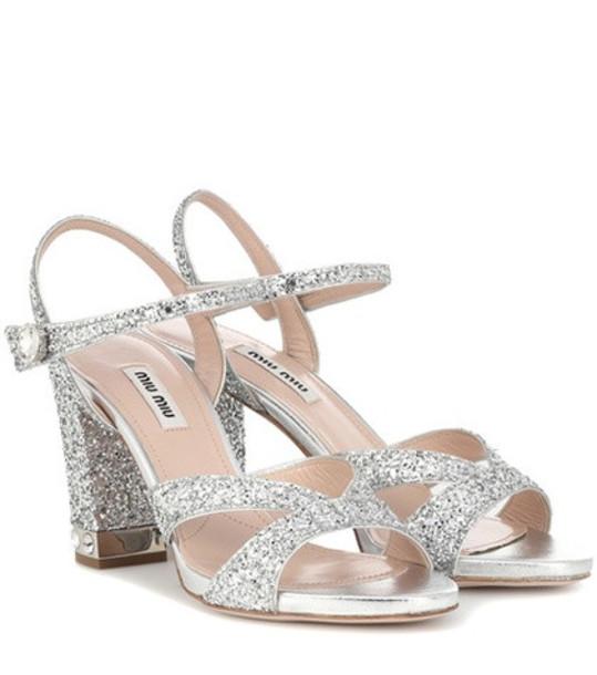 Miu Miu Glitter sandals in silver