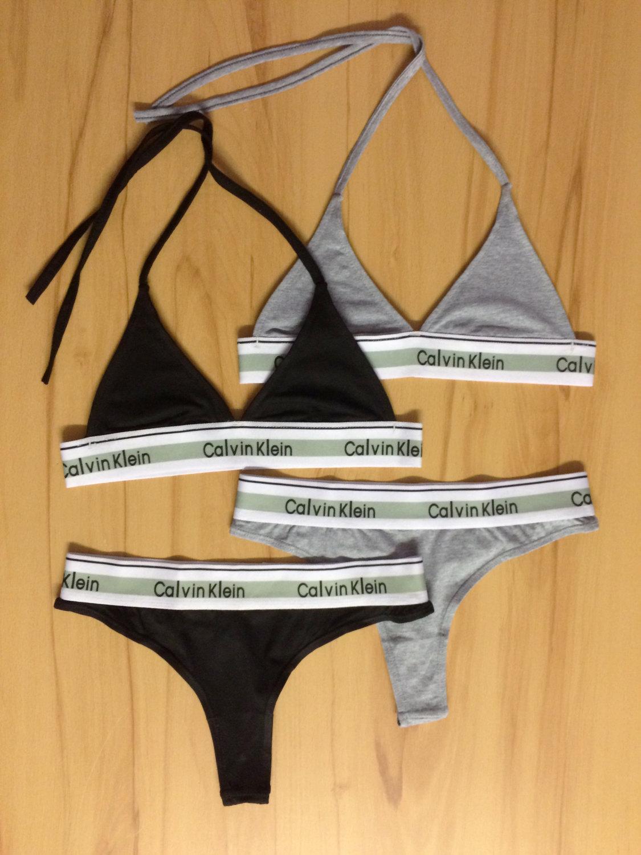 6844f0dfced47 Reworked Underwear Set Calvin Klein Triangle Bra and Thong in ...