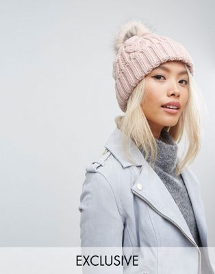 Stitch & Pieces Cable Pom Beanie in Blush Pink at asos.com