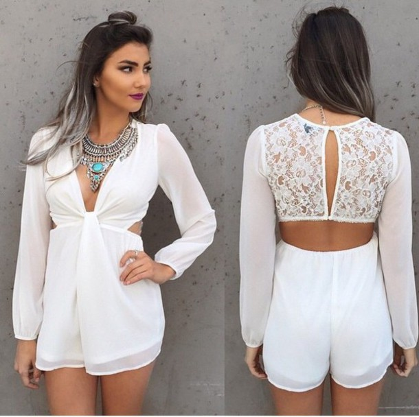 30a64270799 romper jewelry necklace necklace jumpsuit white romper lace romper white  lace romper boho jewelry jewels silver