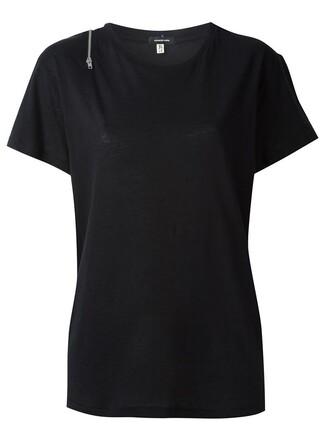 t-shirt shirt zip black top