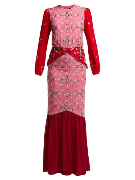 Saloni - Isa Sequinned Silk Georgette Dress - Womens - Pink Multi