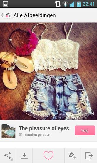 shirt lace top bustier lace bustier lace shorts denim