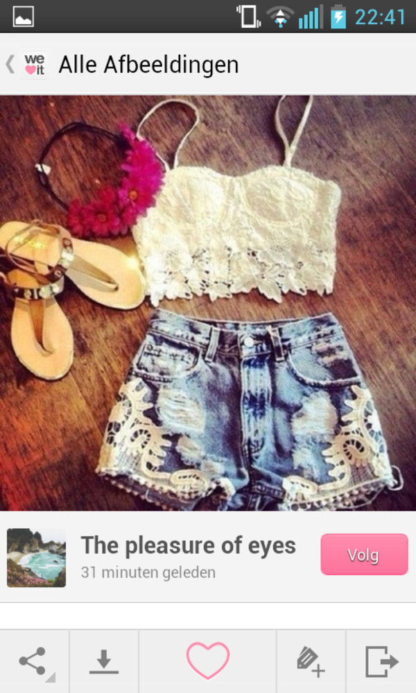 shirt lace top bustier lace bustier lace shorts denim