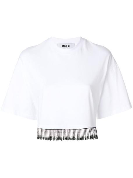 MSGM top women beaded white cotton
