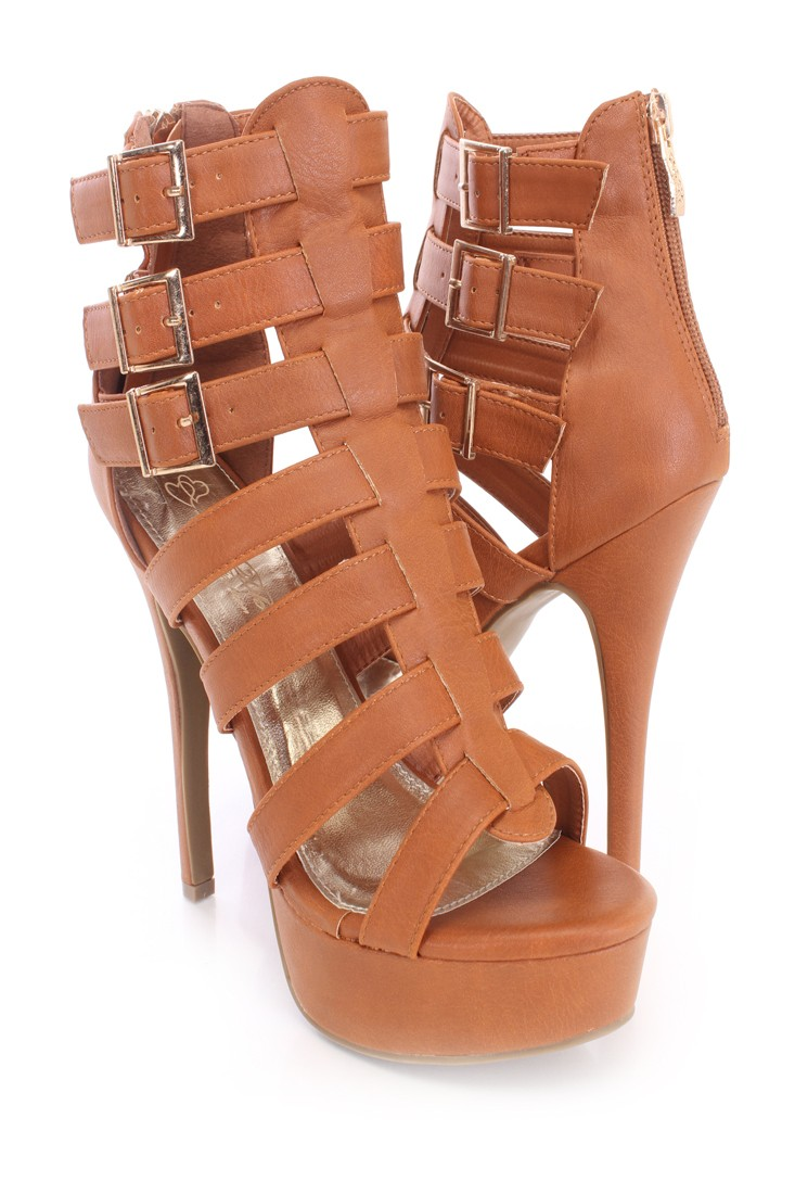 Camel Strappy Platform Booties Faux Leather
