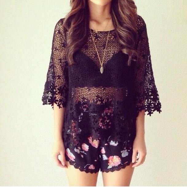 blouse black flowy mesh floral pattern shorts tank top