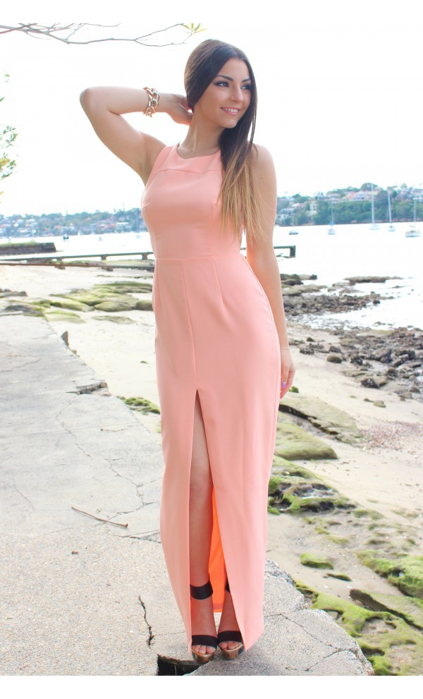 ustrendy dress ustrendy coral coral dress slit maxi dress high slit maxi dress summer dress dress