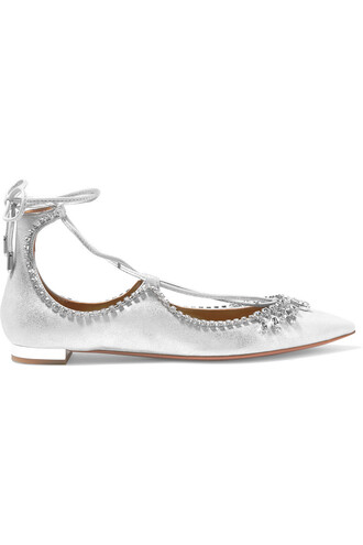 metallic embellished flats leather silver shoes