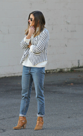 to be bright,blogger,sweater,jeans,stripes,heels,blazer,jacket,shoes