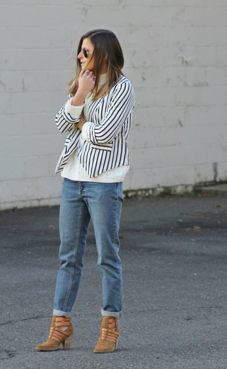 to be bright blogger sweater jeans stripes heels blazer jacket shoes