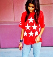 t-shirt,top,swag,fashion,red,colorful,zendaya,stars,pants,shirt,red shirt,jeans,shoes,star shirt,blouse,sweater,sweatshirt