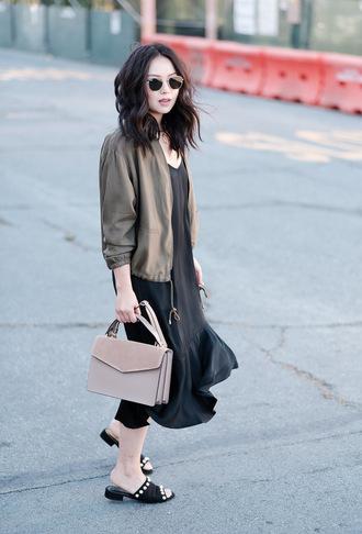 the fancy pants report blogger dress jacket sunglasses bag jewels mules midi dress black dress army green jacket