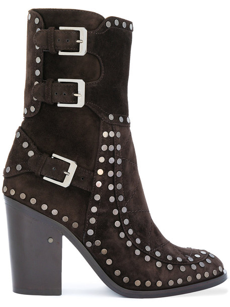 LAURENCE DACADE studded women leather suede brown shoes