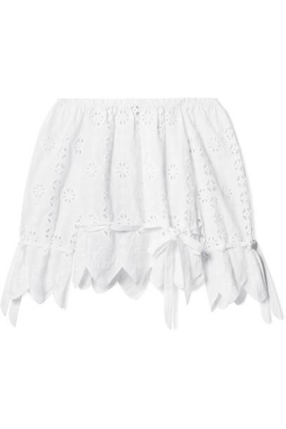 Miguelina top scalloped white cotton