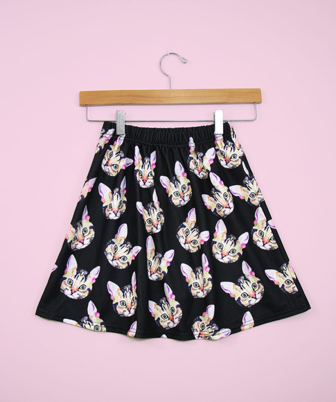 cute lovely skirt cat kitty cats bottom forever 21 yottakilo